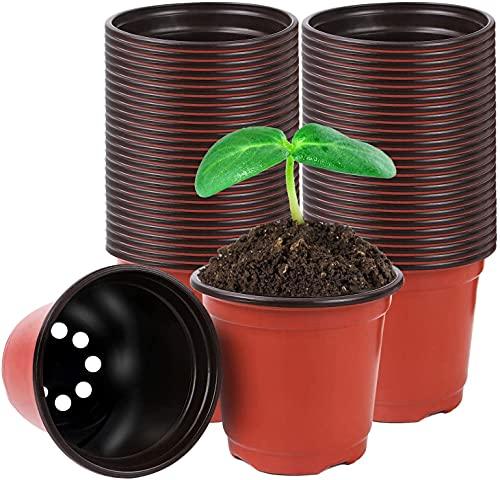 Voarge 50 Stück Kunststoff Blumentopf Anzuchttöpfe, Blumentöpfe Nursery-Pot Klein für Sämlinge Miniaturpflanzen, Anzuchttopf rund zur Anzucht und Aussaat, 10cm