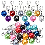 Clip-On Charms, 20pcs Colorful Pearl Dangle Charms Pendant Drop Beads with Lobster Clasp Jewelry Making Accessory fit Floating Locket Charms Necklaces - 10 Colors