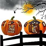 VTAMIN Luces de Calabaza de Resina de Halloween, Accesorios de decoración de iluminación de casa embrujada de Bar, Decoraciones de Festivales de Fantasmas, Luces de Calavera LED