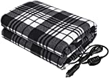 Tvirdeally Heated Car Blanket, 12V Electric Blanket with Temperature Controller, t, 12V Heated Blanket for Car Heated Travel Blanket for Car RVs-Great for Cold Weather Black/White (59'x43')