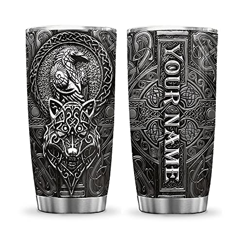 64HYDRO 20oz Printed Personalized Customized Name Wolf and Raven Viking Celtic Tumbler Cup with Lid, Double Wall Vacuum Thermos Insulated Travel Coffee Mug - KHM0412008