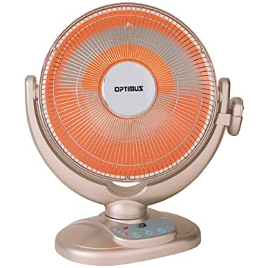 Optimus H-4438 14-Inch Energy-Saving Oscillating Dish Heater with Remote Control