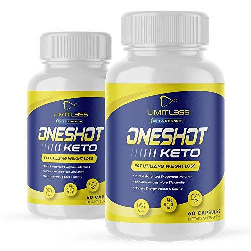 (2 Pack) One Shot Keto  BHB Ketones For Men And Women  60 Day Supply