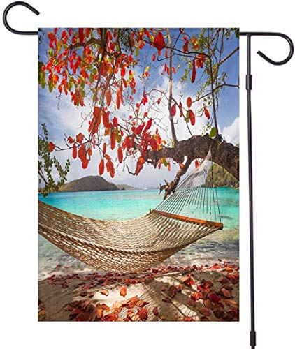 brown78 Tree Yard Flags, Double Sided,Inviting Hammock Under Almond Tree at A Caribbean Beach,Outdoor Decor for Homes and Gardens,12 x 18 Inch