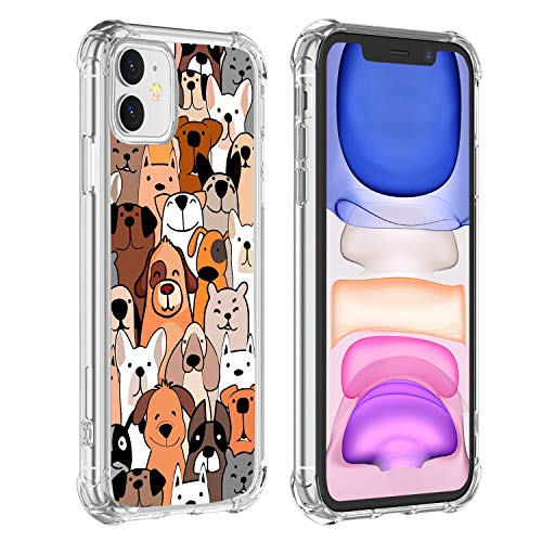 Hi Space iPhone 11 Case Dogs 2019, Funny Cartoon Unisex Back Shell Cover, Slim Flexible TPU Bumper Soft Back Protective Shockproof Case Cover