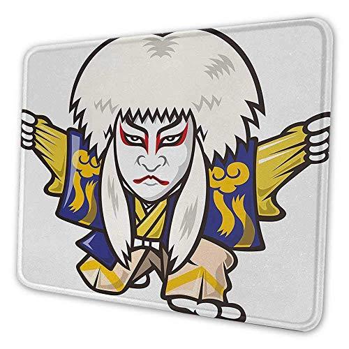 N\A Mscara Kabuki Almohadilla de Teclado Personaje con Disfraz de Kimono Elementos orientales Edo era Artes Teatro Juego Alfombrilla de ratn con Base Antideslizante Multicolor