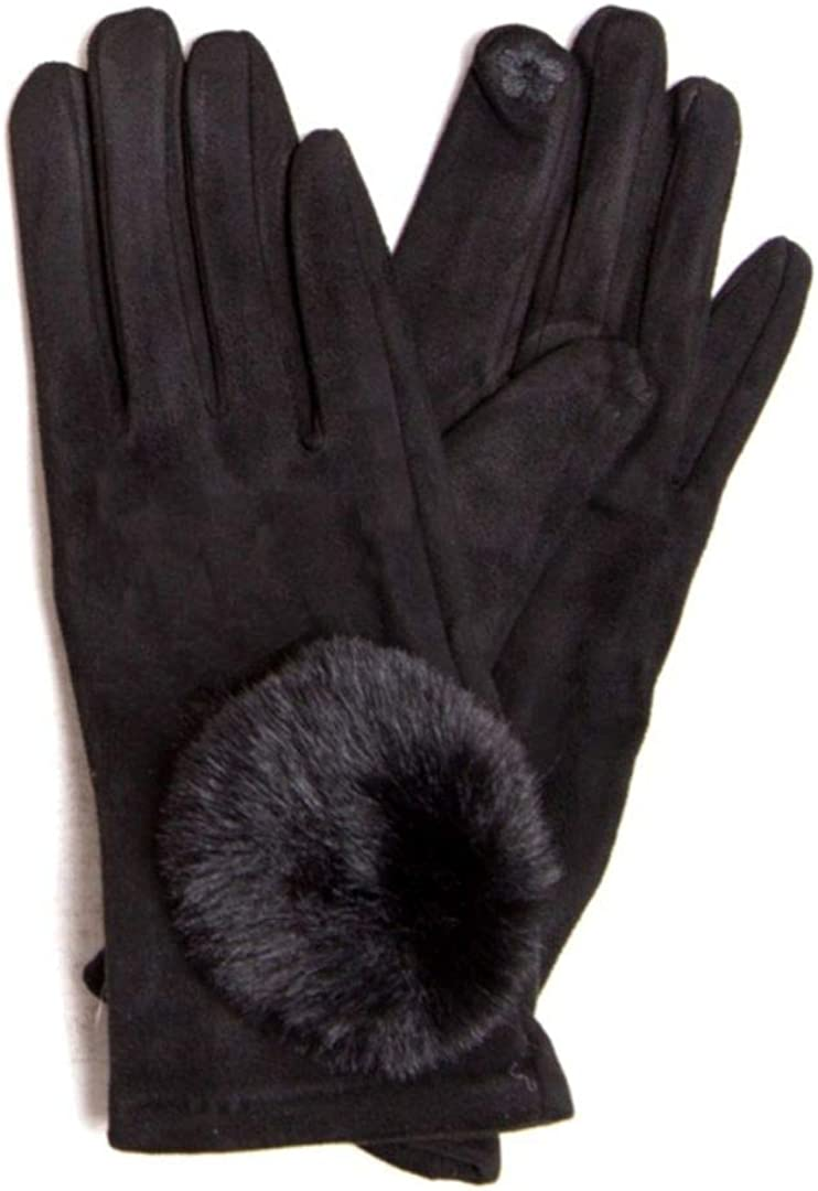 Women's Warm Winter Fashion Gloves Slim Fit Solid Color Pattern Faux Suede Pom Pom Fuzzy Ball Accent Touch Screen Smartphone