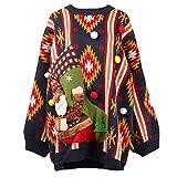 KCatsy Femme Plus Size Oversize Pull tricoté Haut Chaussette de noël Bonhomme de Neige père Noël Baggy tricoté...