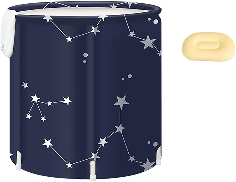 CQ Adult Folding Bathtub, Hot Tub, PVC Portable Bath Tub, Thickened Bath Tub, Plastic Warmth Swimming Pool, Free Inflatable 65  70cm Navy bluee (color   A)