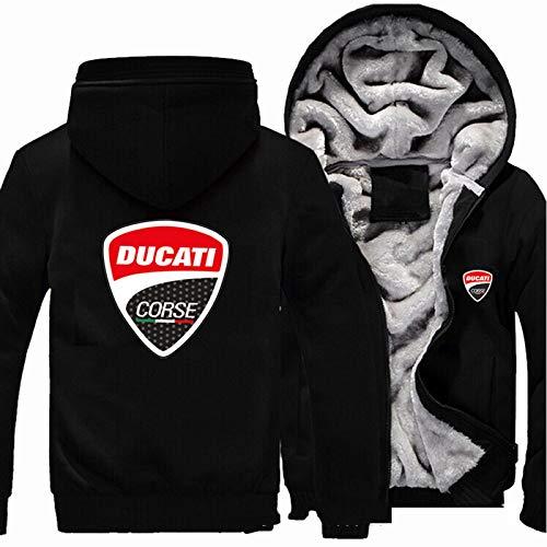 Herren Hoodie Pullover Für Ducati Warme Langarm Sweatshirt Fleece Gefütterte Jacken Volle Reißverschlüsse HOOED Tops Dicke Outwear Black-X-Large