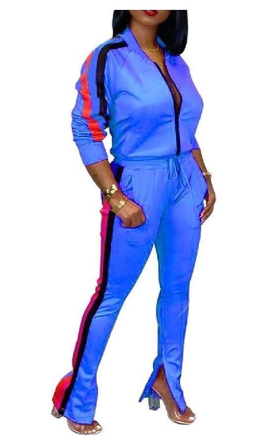 登録望む愛国的なWomens Athletic Ribbon Long-sleeve Two Pieces Tracksuits Sets