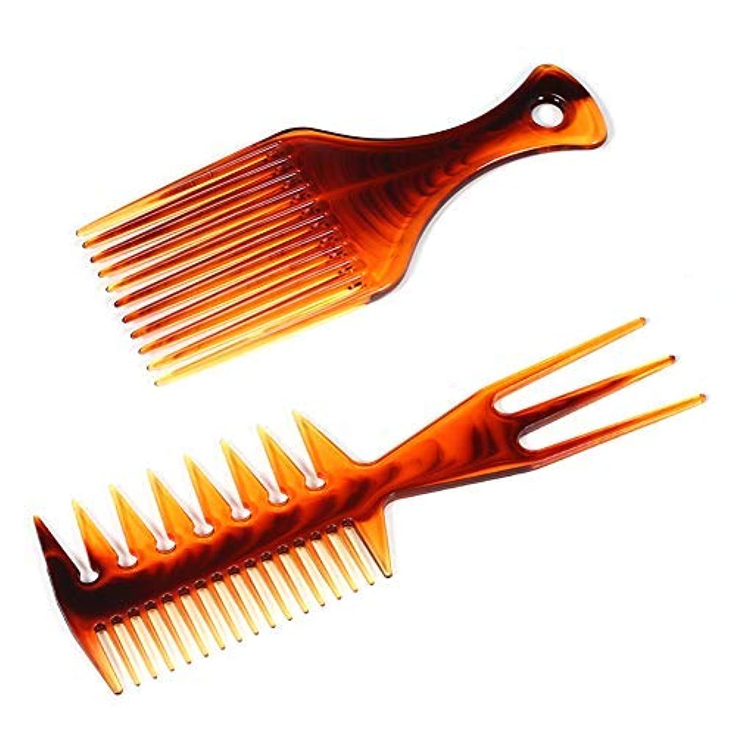 消える七面鳥ハシー2 Pieces Afro Pick Comb Fish Comb Afro Comb Hair Pick Comb Hair Styling Afro Hair Lift Pick Comb infused with Argan Oil Olive Oil and Keratin for Men and Women [並行輸入品]