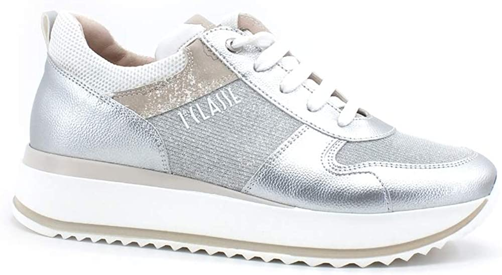 Alviero martini, scarpe sneakers running per donna,  in pelle laminata argento N0615-0525