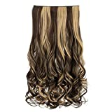 REECHO 20' 1-pack 3/4 Full Head Curly Wave Clips in on Synthetic Hair Extensions Hair pieces for Women 5 Clips 4.6 Oz Per Piece - Dark brown with light blonde highlights