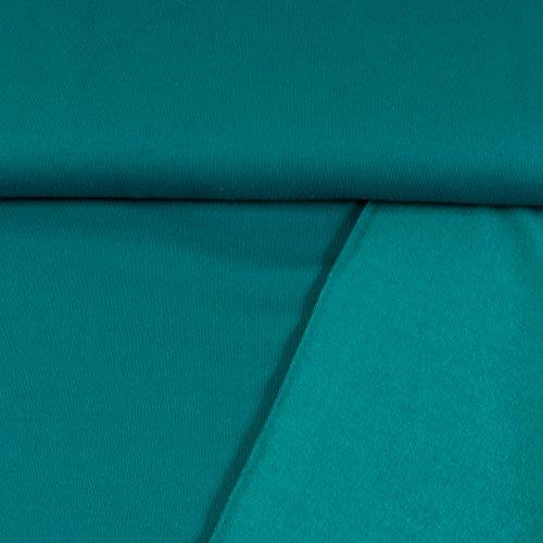 Sweatshirt Stoff Uni Petrol Sweat weiche angeraute Rückseite einfarbig kuschelig Meterware - Preis Gilt für 0,5 Meter