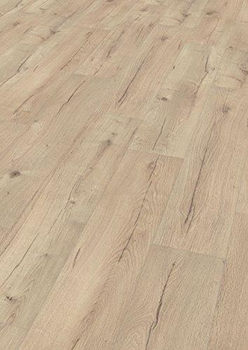EGGER Home Laminat grau braun Holzoptik - Dunino Eiche hell  EHL047 (8mm, 2,541 m²) Klick Laminatboden | breite Diele