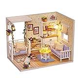 NHK-MX DIY Mini casa de muñecas de Madera Gato con Muebles 3D Hecho a Mano Assemble Kit Modelo de Casa en Miniatura para Regalos de cumpleaños de niños y niñas, Regalos de San Valentín