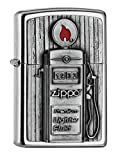 Zippo PL 207 Gas Pump Emblema 3D Mechero Latón, Diseño 5,83,81,2