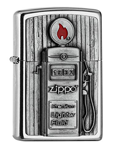 Imagen del productoZippo PL 207 Gas Pump Emblema 3D Mechero Latón, Diseño 5,83,81,2