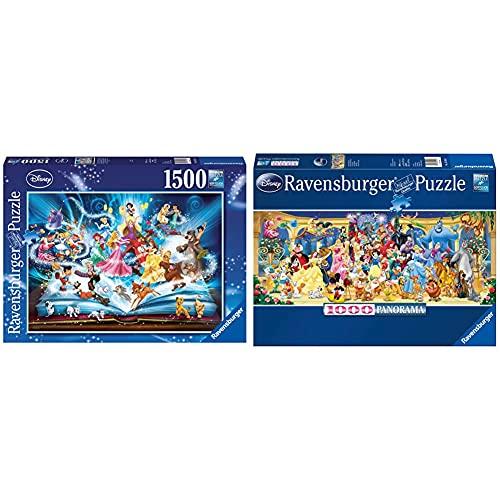 Ravensburger Il Magico Libro Delle Fiabe Disney Classics, Puzzle 1500 Pezzi, Relax & Puzzle 1000 Pezzi, Personaggi Disney, Collezione Disney