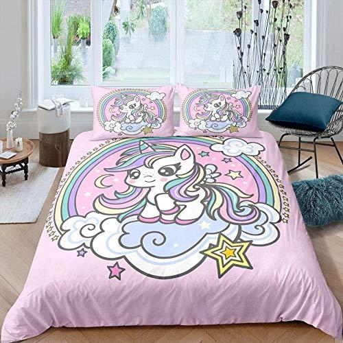 dsgsd Immagine creativa 3D per trapunta per bambini Unicorno animale carino bellissimo arcobaleno 260x240 cm 3 pezzi Moda Stile semplice Set biancheria da letto Copripiumino Set lenzuola Biancheria da