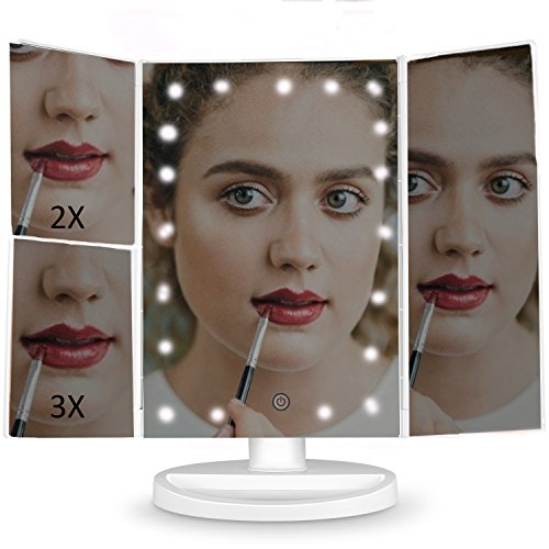 MMP Living Makeup Vanity Mirror with 3x/2x Magnification,Trifold Mirror with 21 Led Lights,Touch Screen, 180° Adjustable Rotation, Dual Power Supply, Countertop Cosmetic Mirror - White