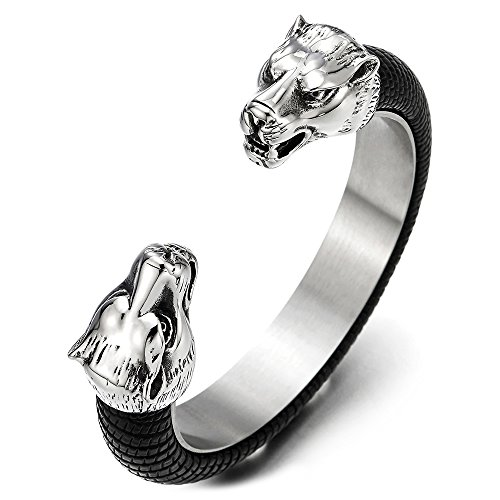 COOLSTEELANDBEYOND Mens Steel Wolf Head Open Cuff Bangle Bracelet Inlaid with Black Leather, Elastic Adjustable