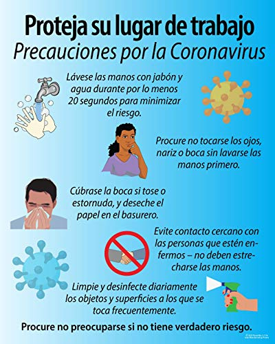 Coronavirus, COVID-19 Disease Preventions, (Spanish) Precautions and Awareness Poster for Public Safety, 11'X 14' Peel and Stick, Made in The USA