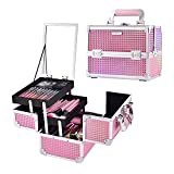 Joligrace Makeup Train Case Portable Cosmetic Box Jewelry Organizer Lockable with Keys and Mirror 2-Tier Trays Carrying...