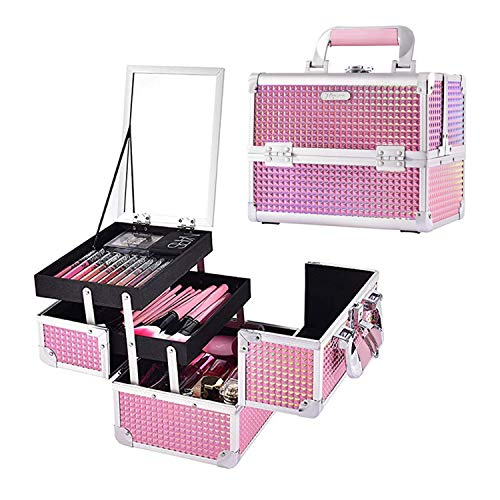 Joligrace Makeup Train Case Portable Cosmetic Box Jewelry Organizer Lockable with Keys and Mirror 2-Tier Trays Carrying with Handle Makeup Storage Box - Mermaid Pink