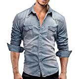 chouyatou Men's Western Long Sleeve Button Down Comfort Distressed Denim Shirts (Large, Light Blue)