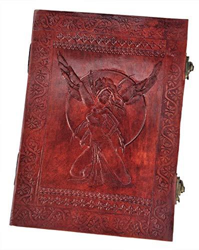 Kooly Zen Notizblock, Tagebuch, Buch, echtes Leder, Vintage, 2 Verschlüsse, Fee, Reh, 18 cm x 25 cm, 240 Seiten, Premiumpapier