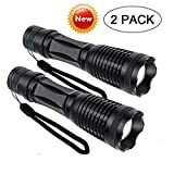 Flashlight 800 Lumens CREE XML-T6 LED Flashlight, Zoomable, IP65 Water-Resistant, Portable, 5 Light Modes for Indoor and Outdoor Use, Tactical Flashlight 2 pack (Batteries Not Included)