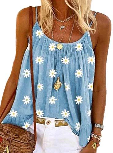 LAIKITITE Camiseta sin mangas con estampado de margaritas para mujer, sin mangas, casual, con tirantes de espagueti, verano y cuello redondo