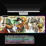 RGB Mauspad Levi Mauspad Pad Maus Notebook Computer Padmouse Großes Gaming Mousepad Gamer zu Tastatur Mausmatten A 2XL (40 x 90 cm)