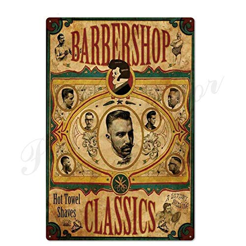 ivAZW Metal Poster Tin Sign Plaque Nostalgic-Art Barber Retro Barber Shop Signs Wall Decor Iron Painting Metal Wall Art Barber 20X30Cm Th2264