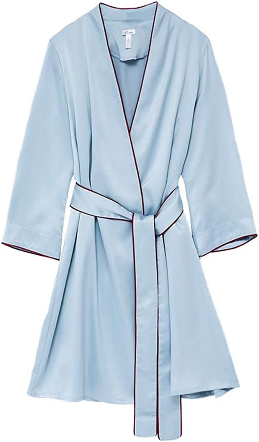 Bathrobe Dressing Gown Sexy Luxury Nightgown LongSleeved Bathrobe Long Section Home Service Pajamas   Female   bluee