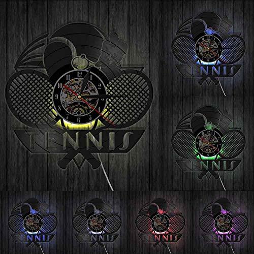 hxjie Tenis Logo Raqueta cancha Pelota decoración Reloj de Pared Juego Tenis Grand Slam Disco de Vinilo Reloj de Pared Tenis Jugador Regalos-con LED