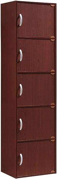 Hodedah 5 Door Five Shleves 封闭式收纳柜红木