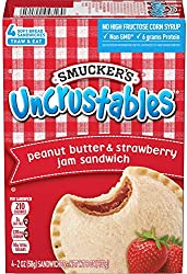 Smucker's Uncrustables Peanut Butter and Strawberry Jam Sandwiches, 2 Ounces (Pack of 4) (Frozen)