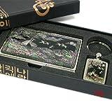 Silver J Ensemble Cadeau de Support pour Cartes de Visite, Porte-Clés. Fabriqués à la Main en Nacre Cadeau. grues et pin Sapin de Noël.