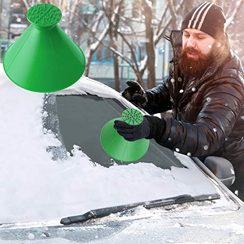Rund Eiskratzer Auto, Schneeschaufel Eiskratzer Hirundo Magischer Eiskratzer, Eisschaber Auto Reinigung Schneeschaufel Werkzeug Eiskratzen Ice Scraper Für Auto Windschutzscheibe (Grün)