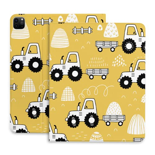 Funda para iPad Pro de 11 Pulgadas de Dibujos Animados Lindo Infantil Divertido Tractor Funda para Tableta con portalápices Compatible con iPad 2020 Pro de 11/12,9 Pulgadas