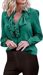 LISTHA Ruffled Blouse Women Long Sleeve Soild Botton Shirts Casual Office Tops