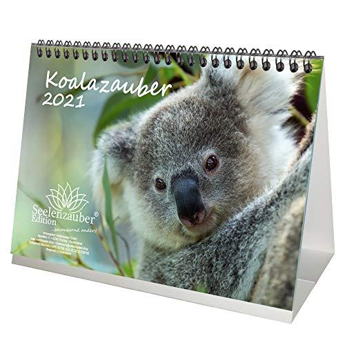 Koalazauber DIN A5 Tischkalender für 2021 Koalabären, Koala - Geschenkset Inhalt: 1x Kalender, 1x Weihnachtskarte (insgesamt 2 Teile)