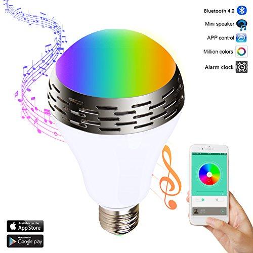 Miric Smart Gloeilamp Intelligente muziek RGB kleur LED met 4.0 Bluetooth luidspreker verschillende kleuren licht, muziek audio, gratis smartphone-app voor thuis en op het podium