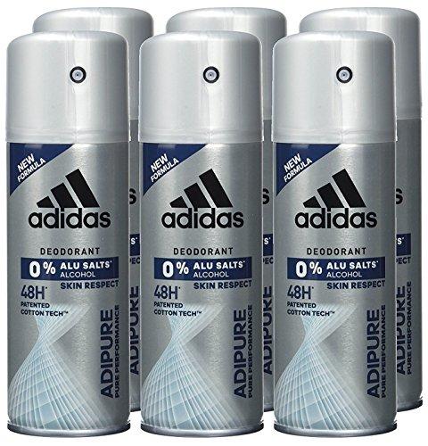 adidas adipure Deo Body Spray für Herren mit patentierter Cotton-Tech™-Technologie für 48 Stunden Deo-Schutz, 6er Pack (6 x 150 ml)