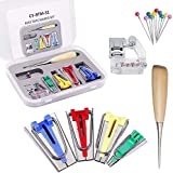 Ykop Bias Tape Maker for Household Patchwork hecho a mano Bias Binding Tool Stainless Steel Sewing Accessories Set of 4 6 mm 12 mm 18 mm 25 mm Sewing Quilting Tool with Tape Presser Foot