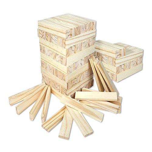 Schramm® 200 Stück Holzbausteine für Kinder Holzklötzer Holz Klötzer Bausteine Puzzle Baustein Holzbaustein Holzbaukasten