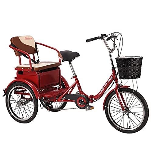 Triciclo de Adultos Triciclo Adulto Tres Ruedas Bicicleta 6 Velocidad 20 Pulgadas...